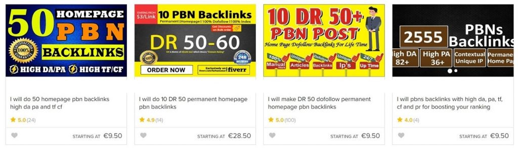 PBN links from Fiverr
