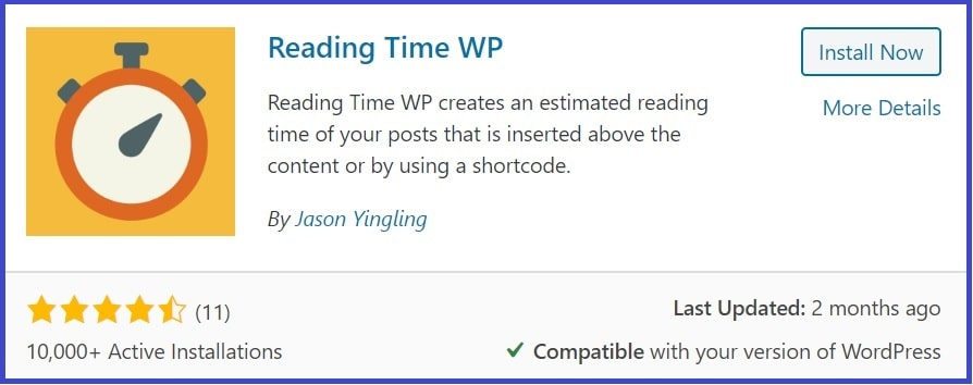 content reading time plugin