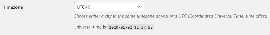 wp timezone settings