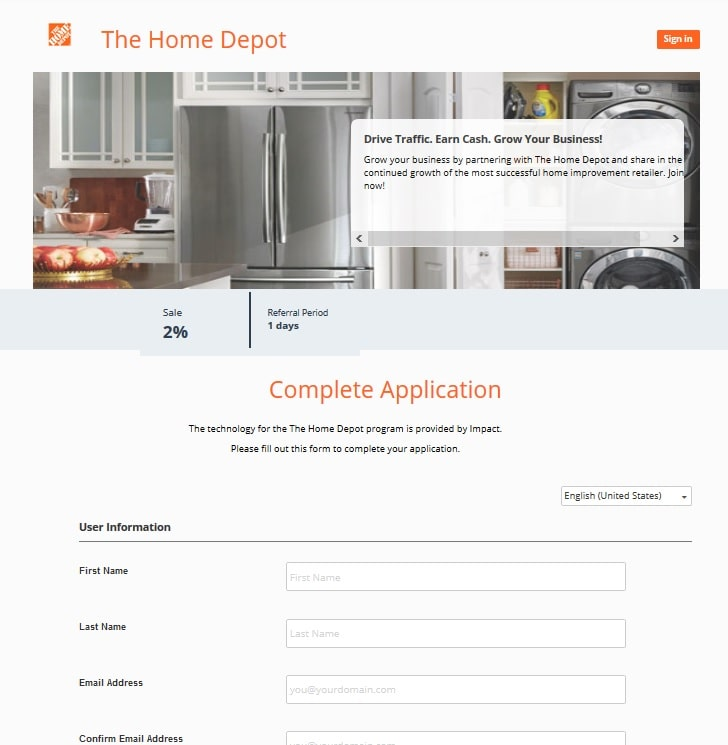 Homedepot affiliate application
