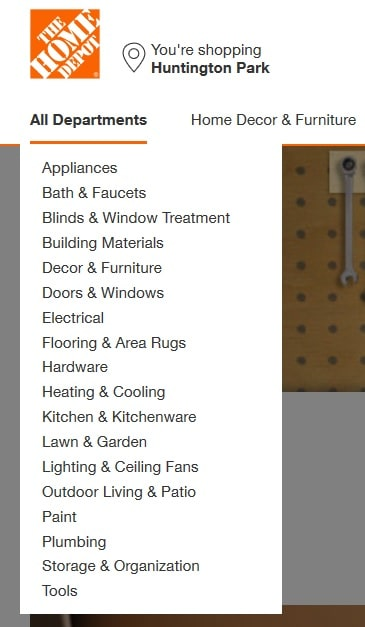 Home Depot All Product Categories