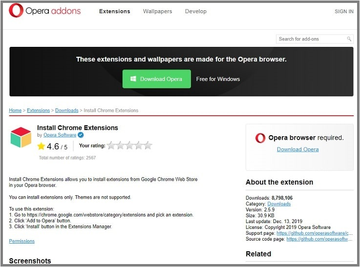chrome extensions on opera browser