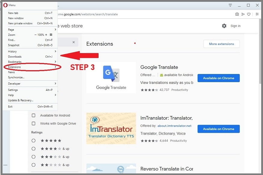 Click on extensions on opera