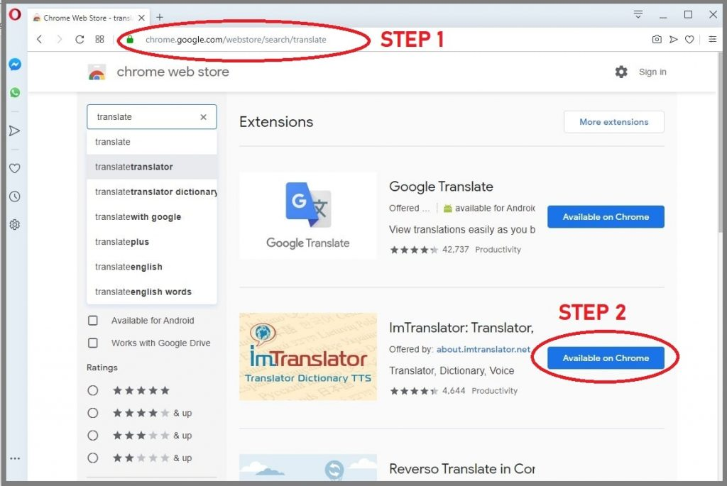 steps add chrome extension to opera