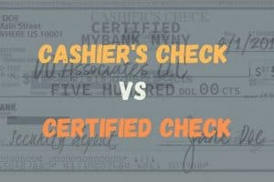 CASHIER'S CHECK CERTIFIED CHECK